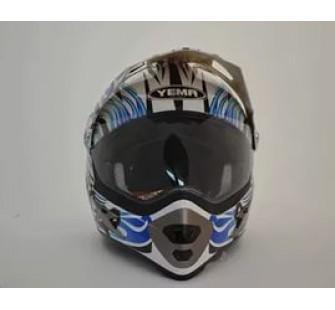 """Шлем кроссовый YM-911-В """"YAMAPA"""" СО СТЕКЛОМ, БЕЛЫЙ с синией графикой с сердечками"""