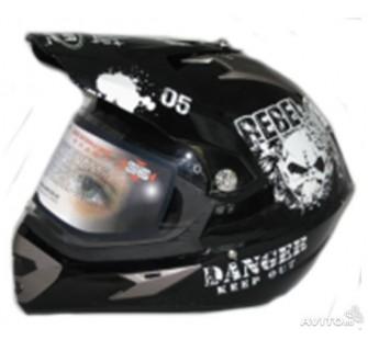 """Шлем кроссовый YM-911-L""""YAMAPA"""" СО СТЕКЛОМ,  Черный """"DANGER KEEP OUT"""""""