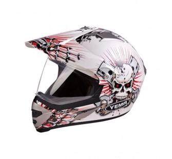 """Шлем кроссовый YM-911-1 """"YAMAPA"""" со СТЕКЛОМ, БЕЛЫЙ с красной графикой с черепами"""