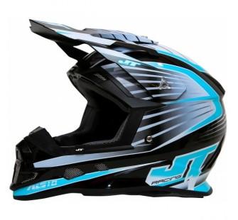 JT Racing Шлем кроссовый  ALS1.0 черно-голубой