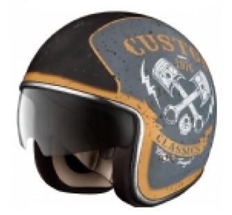 IXS Шлем открытый HX 77 Custom серебро-черный мат