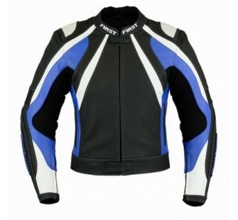 Куртка кожаная FIRST MACH II black&white&blue