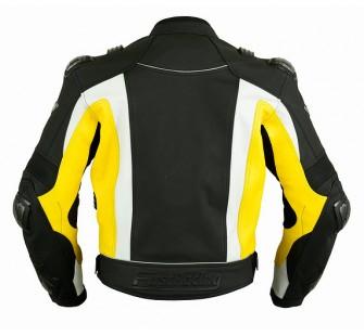Куртка кожаная FIRST MACH II black&white&yellow